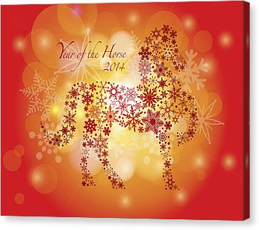 2014 Happy New Year Of The Horse With Snowflakes Pattern Canvas Print by Jit Lim