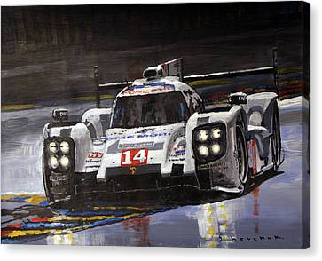 Hybrid Canvas Print - 2014 Le Mans 24 Porsche 919 Hybrid  by Yuriy Shevchuk