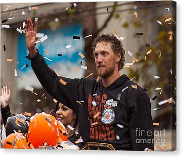 2014 World Series Champions San Francisco Giants Dynasty Parade Hunter Pence 5d29764 Canvas Print by Wingsdomain Art and Photography