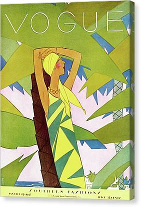 Necklace Canvas Print - A Vintage Vogue Magazine Cover Of A Woman by Eduardo Garcia Benito