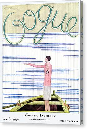 Watercraft Canvas Print - A Vintage Vogue Magazine Cover Of A Woman by Georges Lepape