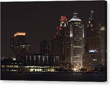 River Canvas Print - Detroit Skyline by Gary Marx