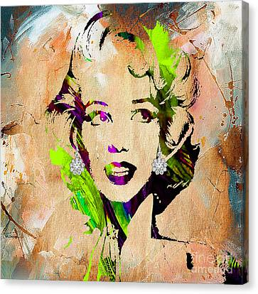 Monroe Canvas Print - Marilyn Monroe Diamond Earring Collection by Marvin Blaine