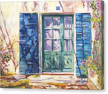 French Door Canvas Print - 213 Rue De Provence by David Lloyd Glover