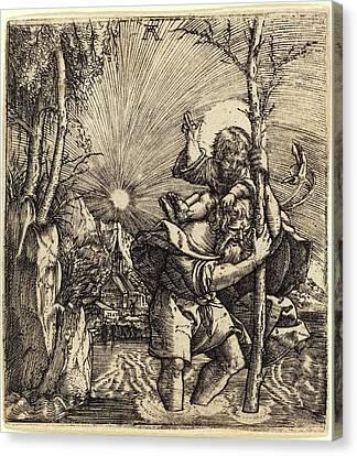 Saint Christopher Canvas Print - Albrecht Altdorfer German, 1480 Or Before - 1538 by Quint Lox