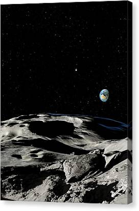 Asteroid Approaching Earth Canvas Print by Detlev Van Ravenswaay