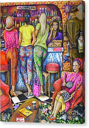 Shop Talk Canvas Print by Linda Simon
