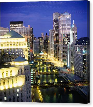 Chicago River Canvas Print - Buildings At The Waterfront by Panoramic Images