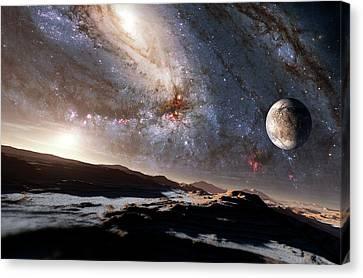 Andromeda Galaxy Canvas Print - Alien Planetary System by Detlev Van Ravenswaay