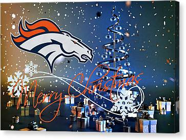 Christmas Greeting Canvas Print - Denver Broncos by Joe Hamilton