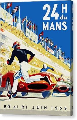 Motors Canvas Print - 24 Hour Le Mans 1959 by Mark Rogan