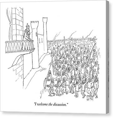 I Welcome The Discussion Canvas Print by Paul Noth