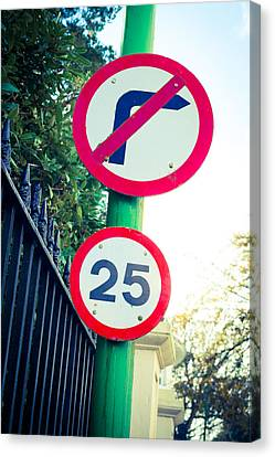 Traffic Enforcement Canvas Print - 25 Mph Road Sign by Tom Gowanlock