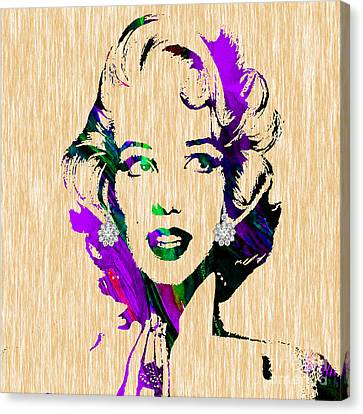 Monroe Canvas Print - Marilyn Monroe Diamond Earring Collection by Marvin Blaine
