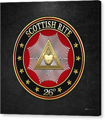 26th Degree - Prince Of Mercy Or Scottish Trinitarian Jewel On Black Leather Canvas Print by Serge Averbukh