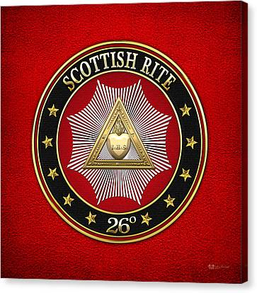 26th Degree - Prince Of Mercy Or Scottish Trinitarian Jewel On Red Leather Canvas Print by Serge Averbukh