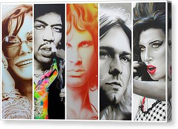 Jimi Hendrix, Kurt Cobain, And Amy Winehouse Collage - '27 Eternal' Canvas Print by Christian Chapman Art