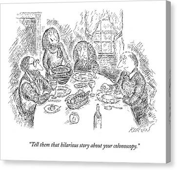 Tell Them That Hilarious Story Canvas Print by Edward Koren