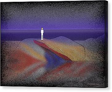 276 -  Man Looking At The Ocean   Canvas Print by Irmgard Schoendorf Welch