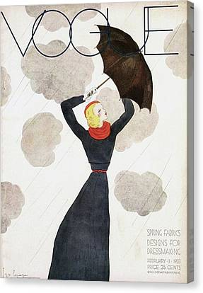 1933 Canvas Print - A Vintage Vogue Magazine Cover Of A Woman by Georges Lepape