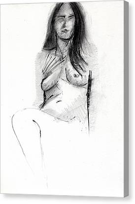 Woman Drawings Drawings Canvas Print - Rcnpaintings.com by Chris N Rohrbach