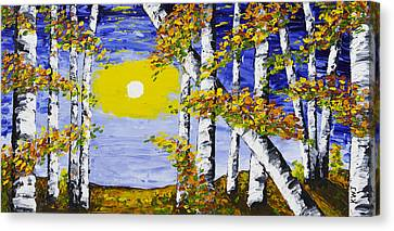 White Birch Trees In Fall Abstract Painting Canvas Print