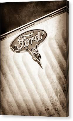 Ford V8 Canvas Print - 1934 Ford V8 Emblem by Jill Reger