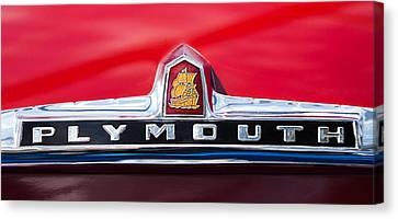 1949 Plymouth P-18 Special Deluxe Convertible Emblem Canvas Print by Jill Reger