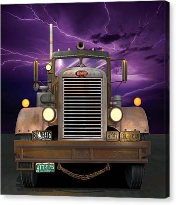 Old Trucks Canvas Print - 1955 Peterbilt by Stuart Swartz
