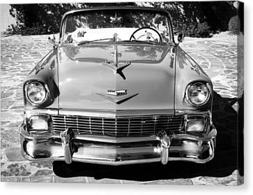 1956 Chevrolet Belair Convertible Custom V8 -051bw Canvas Print by Jill Reger
