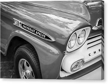 1959 Chevy Pick Up Truck Apache Series Painted Bw  Canvas Print