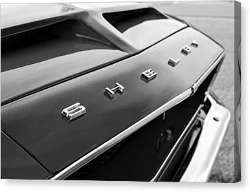 1968 Shelby Gt350 Hood Emblem Canvas Print by Jill Reger