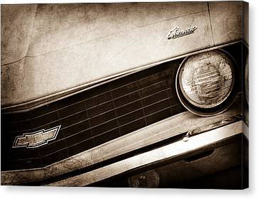 1969 Chevrolet Camaro Copo Replica Grille Emblems Canvas Print