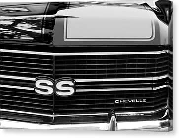 White Chevy Canvas Print - 1970 Chevrolet Chevelle Ss Grille Emblem by Jill Reger