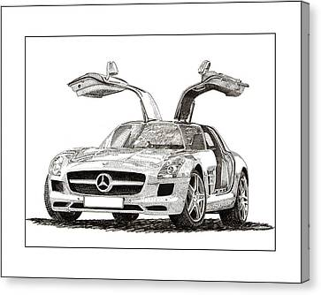 German Cars Canvas Print - Gull Wing Mercedes Benz S L S Gull-wing by Jack Pumphrey