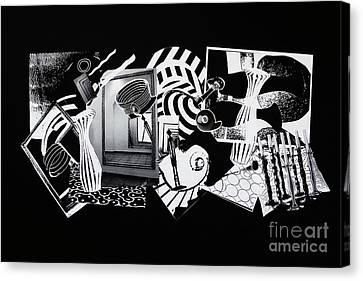 Abstraction Canvas Print - 2d Elements In Black And White by Xueling Zou