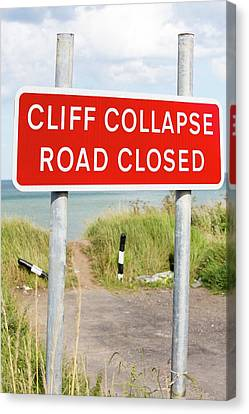 A Collapsed Coastal Road Near Aldbrough Canvas Print by Ashley Cooper