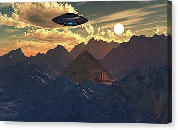 A Flying Saucer Hovering Over A Pyramid Canvas Print by Mark Stevenson