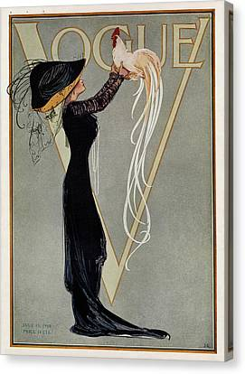 Magazine Art Canvas Print - Vintage Vogue Cover Of Woman With Rooster by Artist Unknown
