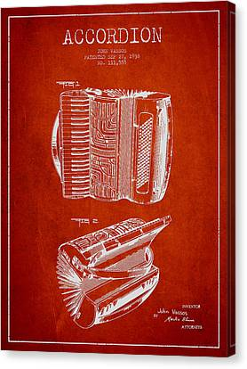 Accordion Patent Drawing From 1938 Canvas Print by Aged Pixel