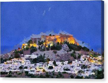 Acropolis And Village Of Lindos Canvas Print