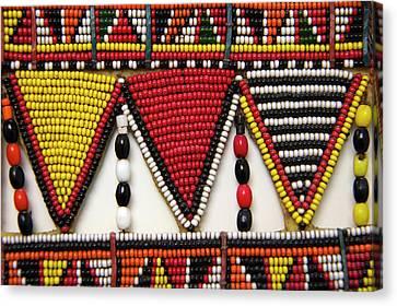 Seed Beads Canvas Print - Africa, Kenya Maasai Tribal Beadwork by Kymri Wilt