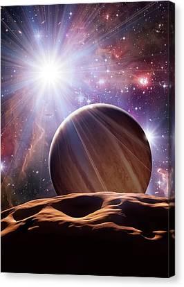 Alien Planet And Star Cluster Canvas Print by Detlev Van Ravenswaay
