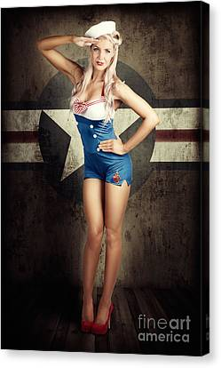 American Fashion Model In Military Pin-up Style Canvas Print