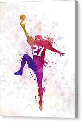 American Football Player Man Catching Receiving Canvas Print by Pablo Romero