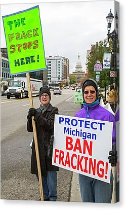 Anti-fracking Protest Canvas Print by Jim West