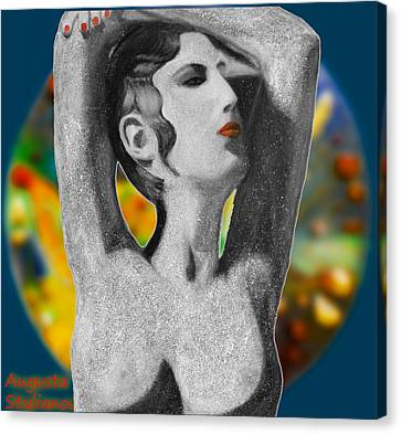 Aphrodite And  Cyprus Map Canvas Print by Augusta Stylianou
