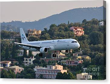 Approaching Corfu Airport Canvas Print by George Atsametakis