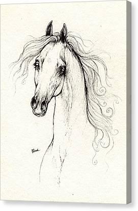Arabian Horse Drawing 13 08 2013 Canvas Print by Angel  Tarantella