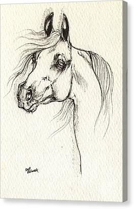 Arabian Horse Drawing Canvas Print by Angel  Tarantella
